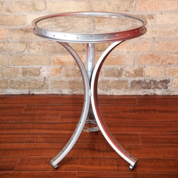 Silver Pedestal Table with Gear Top   The ReCYCLer
