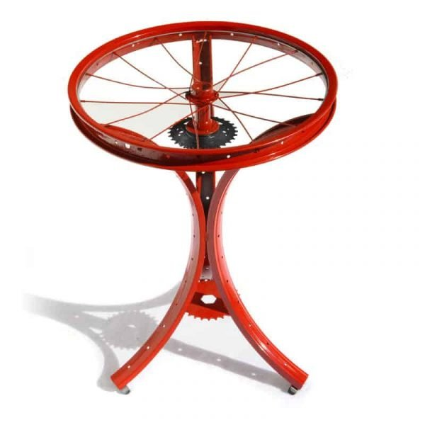 Red Pedestal Table with Spoke Top | The ReCYCLer