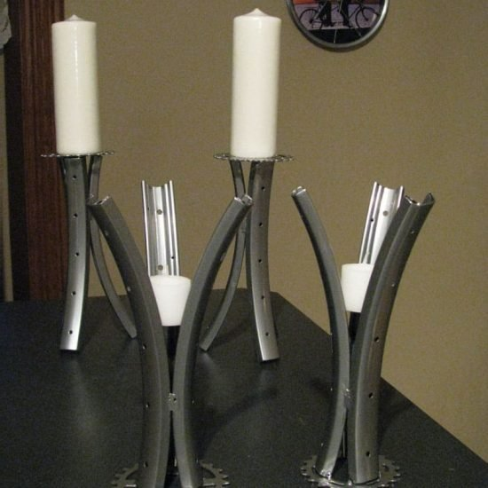 Candle Pillars Silver Tall 10 inch