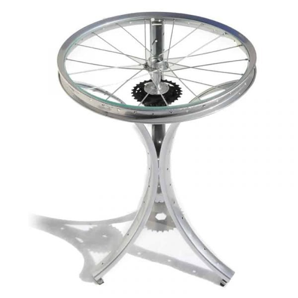 Silver Pedestal Table with Spoke Top | The ReCYCLer