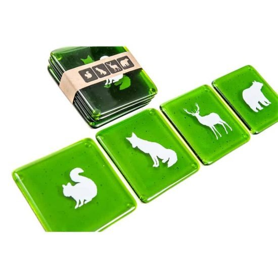 Forest Animals Green Coasters (set of 4)