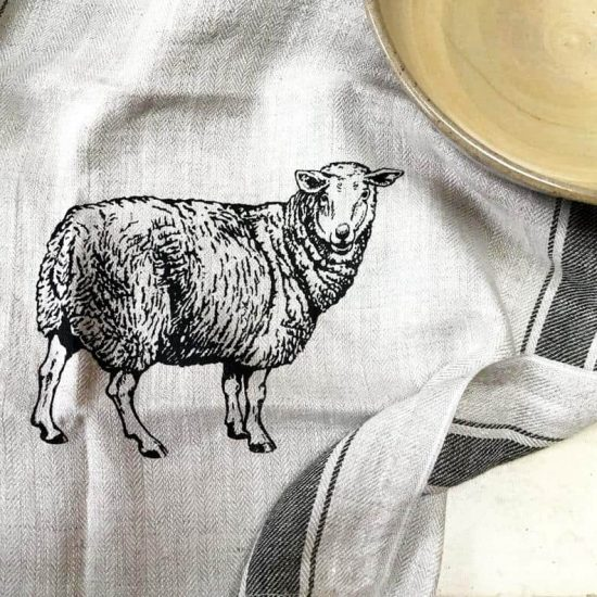 Sheep Linen Kitchen Towel