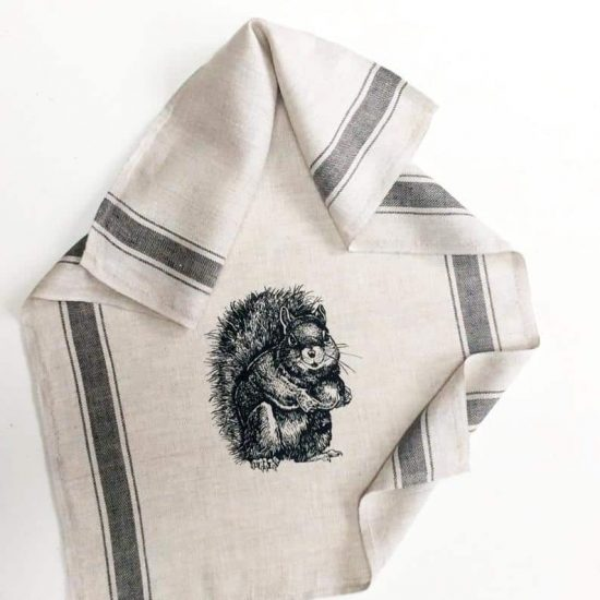 Urban Squirrel Linen Kitchen Towel