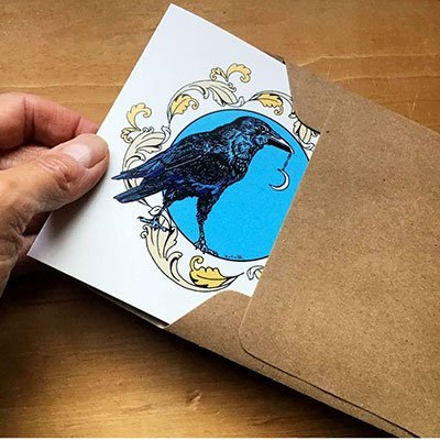Original Art Blank Note Cards - Raven