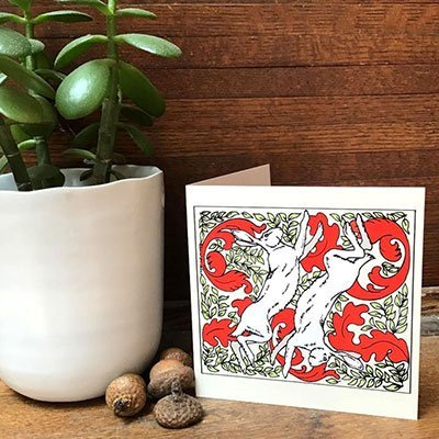 Original Art Blank Note Cards - White Winter Hare